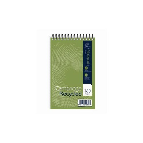 Cambridge (125mm x 200mm) Notebook Wirebound Recycled 160 Pages 70g m2 Ruled Perforated Card Cover (Pack 10)