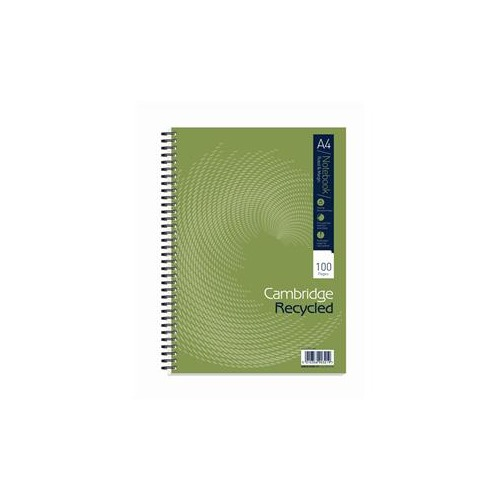 Cambridge (A4) Notebook 100 Pages 70g m2 Wirebound Recycled Punched 4-Holes Perforated Ruled Margin Card Cover (Pack 5)