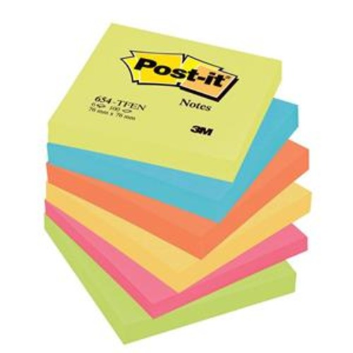 Post-it Sticky Notes Rainbow Coloured 6 x 100 Sheets