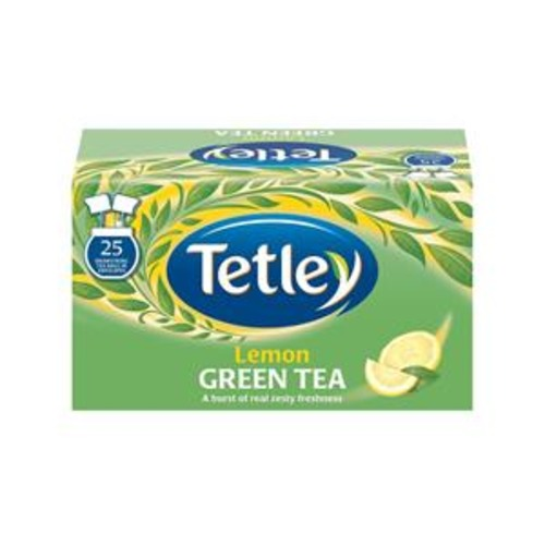 Tetley Green Tea with Lemon Tea Bags Individually Wrapped (Pack of 25)